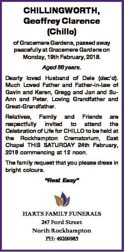 CHILLINGWORTH, Geoffrey Clarence (Chillo) of Gracemere Gardens, passed away peacefully at Gracemere...