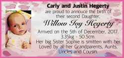 Carly and Justin Hegerty are proud to annouce the birth of their second Daughter, Willow Ivy Hege...