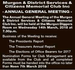 Murgon & District Services & Citizens Memorial Club Inc - ANNUAL GENERAL MEETING The Annual...