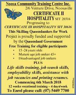 Noosa Community Training Centre Inc. 2/6 Venture Drive, Noosaville CerTIfICaTe II hospITalITy SIT 20...