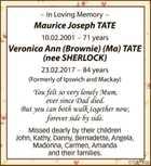 In Loving Memory Maurice Joseph TATE