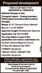 Proposed development 6769366aa Make a submission from 23/02/2018 to 16/03/2018 Material Change of Use (Transport depot - Towing business, RACQ depot and associated outdoor storage) Where: 41-47 Churchill Drive, Warwick On: Lot 1 on RP102547 Approval sought: Development Approval Application ref: MCU\01933 You may obtain a ...