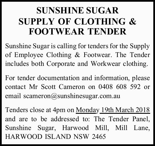 SUNSHINE SUGAR SUPPLY OF CLOTHING & FOOTWEAR TENDER