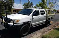 white dualcab, 230,oookm, steel trayback, bullbar, 2way radio, all terrain near new tyres less th...