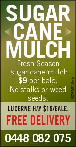 Fresh Season sugar cane mulch $9 per bale. No stalks or weed seeds. Lucerne Hay $18/BaLe. SUGAR C...