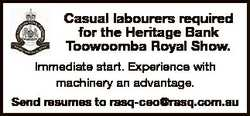 Casual labourers required for the Heritage Bank Toowoomba Royal Show. Immediate start. Experience wi...