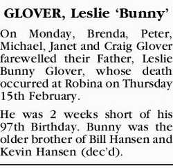 GLOVER, Leslie `Bunny'   On Monday, Brenda, Peter, Michael, Janet and Craig Glover farewe...