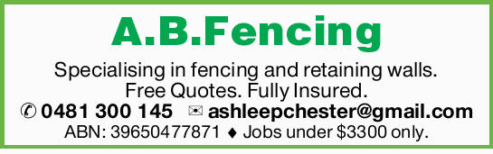 Specialising in fencing and retaining walls. 