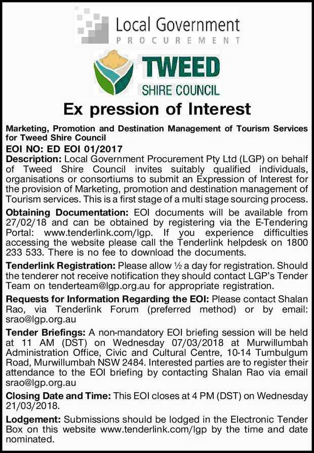 Expression of Interest   Marketing, Promotion and Destination Management for Tourism Services...