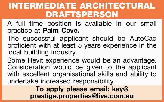 intermediate architectural draftsperson