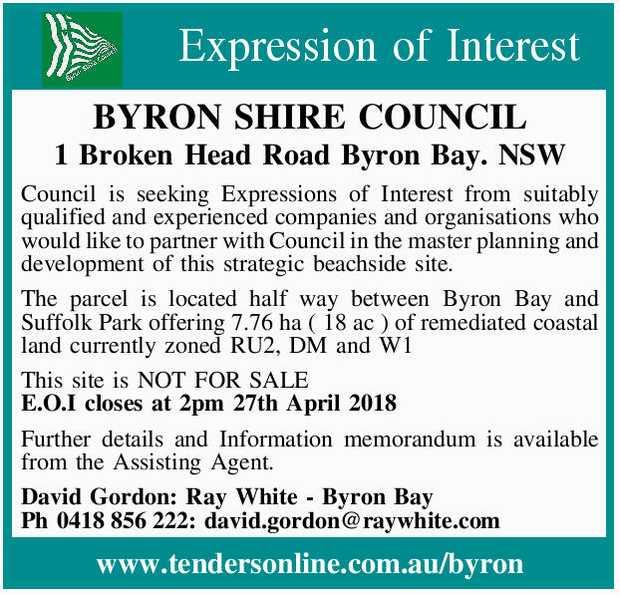 BYRON SHIRE COUNCIL   1 Broken Head Road Byron Bay NSW   Council is seeking Expressions o...