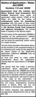 Notice of Application – Water Act 2000