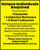 Carpenter - Asbestos Removers - Labourers Wanted