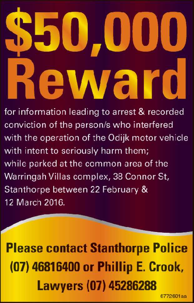 $50,000 Reward    for information leading to arrest & recorded conviction of the pers...