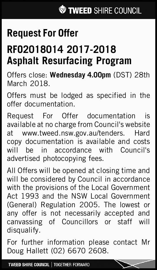 Request For Offer   RFO2018014 2017-2018 Asphalt Resurfacing Program   Offers close: Wedn...
