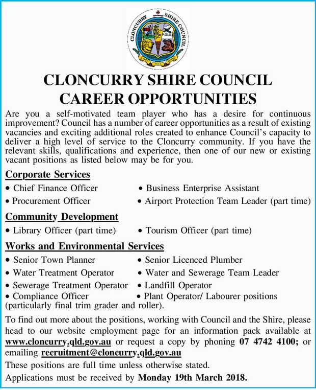 CLONCURRY SHIRE COUNCIL CAREER OPPORTUNITIES   Are you a self-motivated team player who has a...
