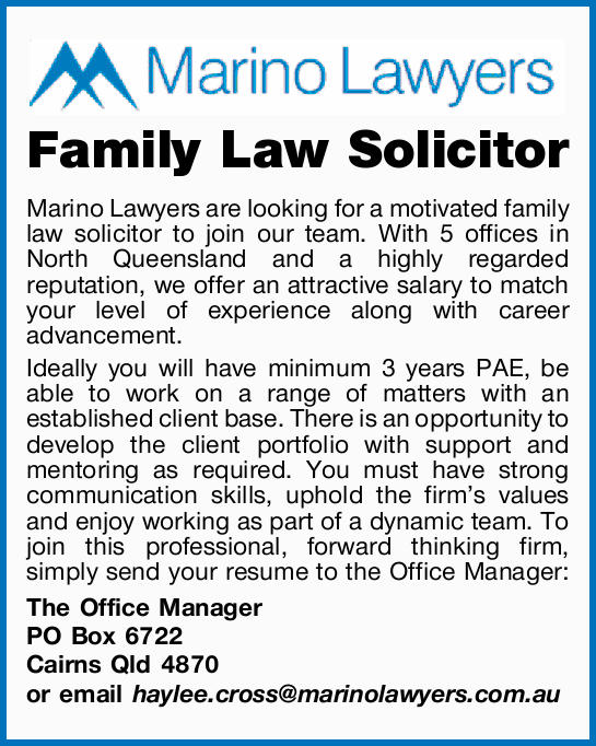 Marino Lawyers are looking for a motivated family law solicitor to join our team. With 5 offices...