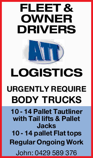 FLEET & OWNER DRIVERS LOGISTICS URGENTLY REQUIRE BODY TRUCKS 10 - 14 Pallet Tautliner with Ta...
