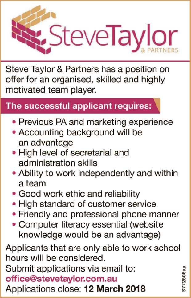 Steve Taylor & Partners has a position on offer for an organised, skilled and highly motivate...