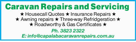 Housecall Quotes  Insurance Repairs  Awning repairs  Three-way Refridgeration...