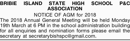 BRIBIE ISLAND STATE HIGH SCHOOL P&C ASSOCIATION