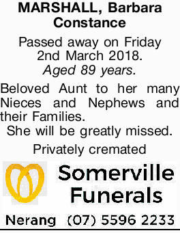 MARSHALL, Barbara Constance