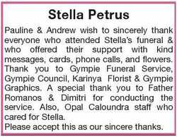 Pauline & Andrew wish to sincerely thank everyone who attended Stella's funeral & who offered their...