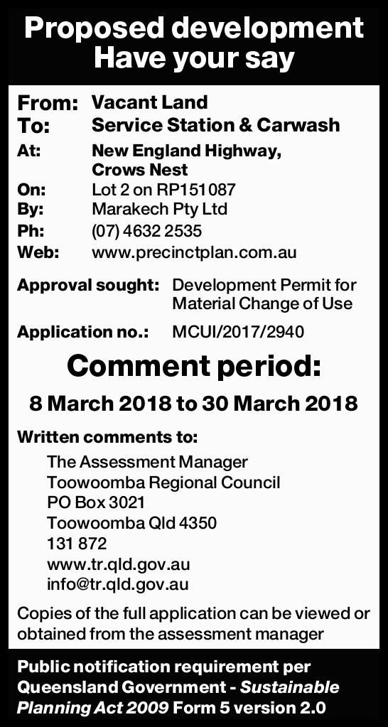 Proposed development Have your say From: Vacant Land To: Service Station & Carwash At: New En...