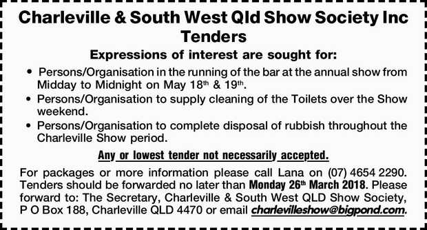 Charleville & South West Qld Show Society Inc Tenders Expressions of interest are sought for:...