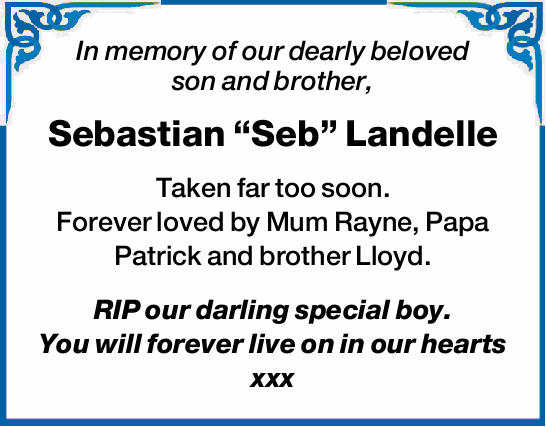 In memory of our dearly beloved son and brother, 