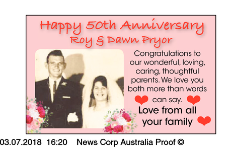Happy 50th Anniversary   Roy & Dawn Pryor   Congratulations to our wonderful,   l...