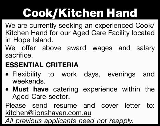 We are currently seeking an experienced Cook/Kitchen Hand for our Aged Care Facility located in H...
