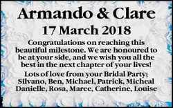 Armando & Clare   17 March 2018   Congratulations on reaching this beautiful mileston...