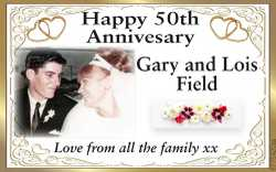 Gary and Lois Field Love from all the family xx