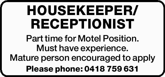 Part time for Motel Position.