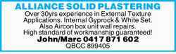 Over 30yrs experience in External Texture Applications. Internal Gyprock & White Set. Also...