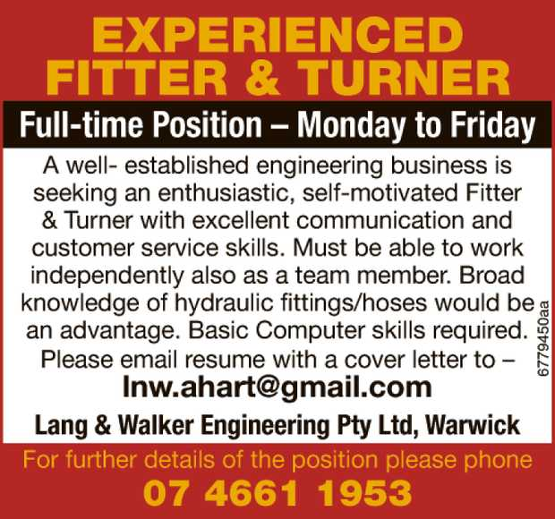 Experienced Fitter & Turner Full-time Position – Monday to Friday    A well- es...