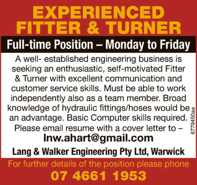 Experienced Fitter & Turner