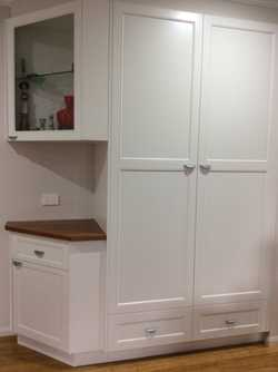 Approx 2100 x 1800. White powdercoat. Self close doors and drawers.