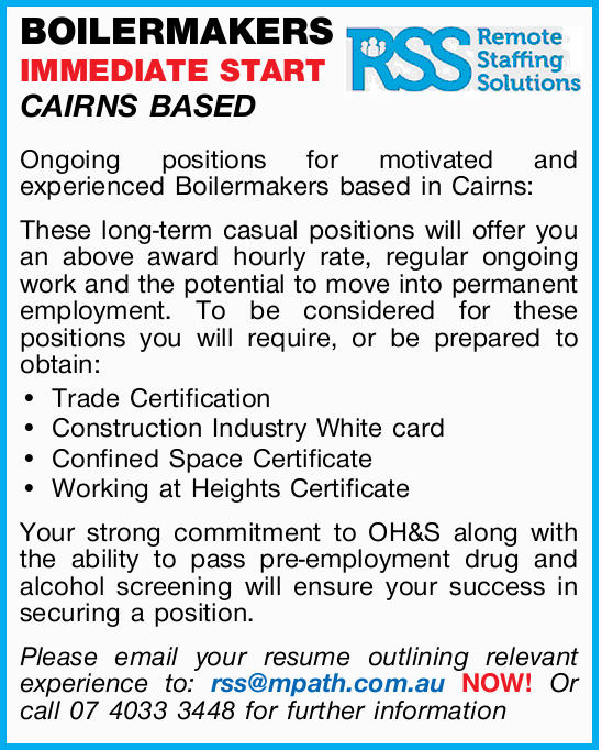 BOILERMAKERS – IMMEDIATE START – CAIRNS BASED 