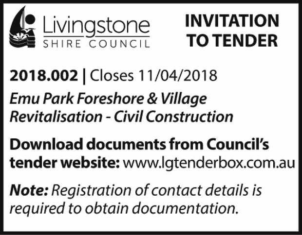 INVITATION TO TENDER 2018.002 | Closes 11/04/2018 Emu Park Foreshore & Village Revitalisation...