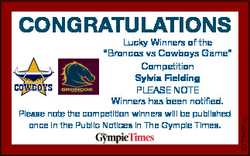CONGRATULATIONS Please note the competition winners will be published once in the Public Notices in...
