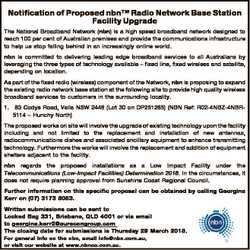 Notification of Proposed nbnTM Radio Network Base Station Facility Upgrade The National Broadband Ne...