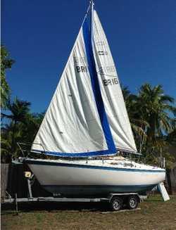 COLE T.S. 23. Boat and galv. trailer.   Reg. 9.9 yamaha o/b, furling head sails,   2 main...