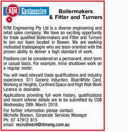 RTM Engineering Pty Ltd is a diverse engineering and retail sales company. We have an exciting op...