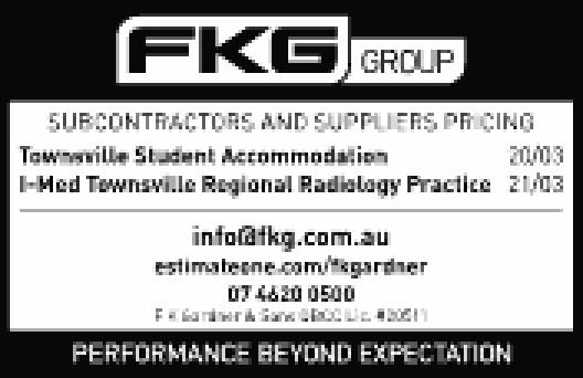 Subcontractors and Suppliers pricing   Townsville Student Accomodation 20/03   I Med Town...