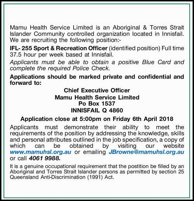 Mamu Health Service Limited is an Aboriginal & Torres Strait Islander Community controlled or...