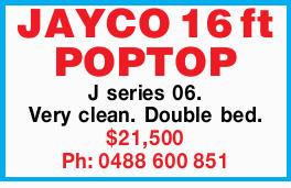 JAYCO 16 ft POPTOP     J series 06.  Very clean.  Double bed.  $21,500