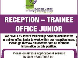 We have a 12 month traineeship position available for a trainee office junior to work within our reception team. Please go to www.bbuscentre.com.au for more information on this position. Please email your application & resume by 4pm 16/03/2018 to:- tanyag@bbuscentre.com.au 6777070aa RECEPTION - TRAINEE ...