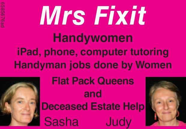 Mrs Fixit   Handywomen   Ipad, phone, computer tutoring   all handyman jobs around yo...